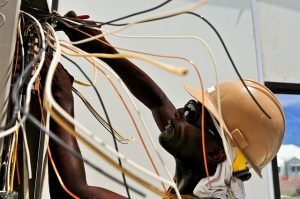 man working with cables
