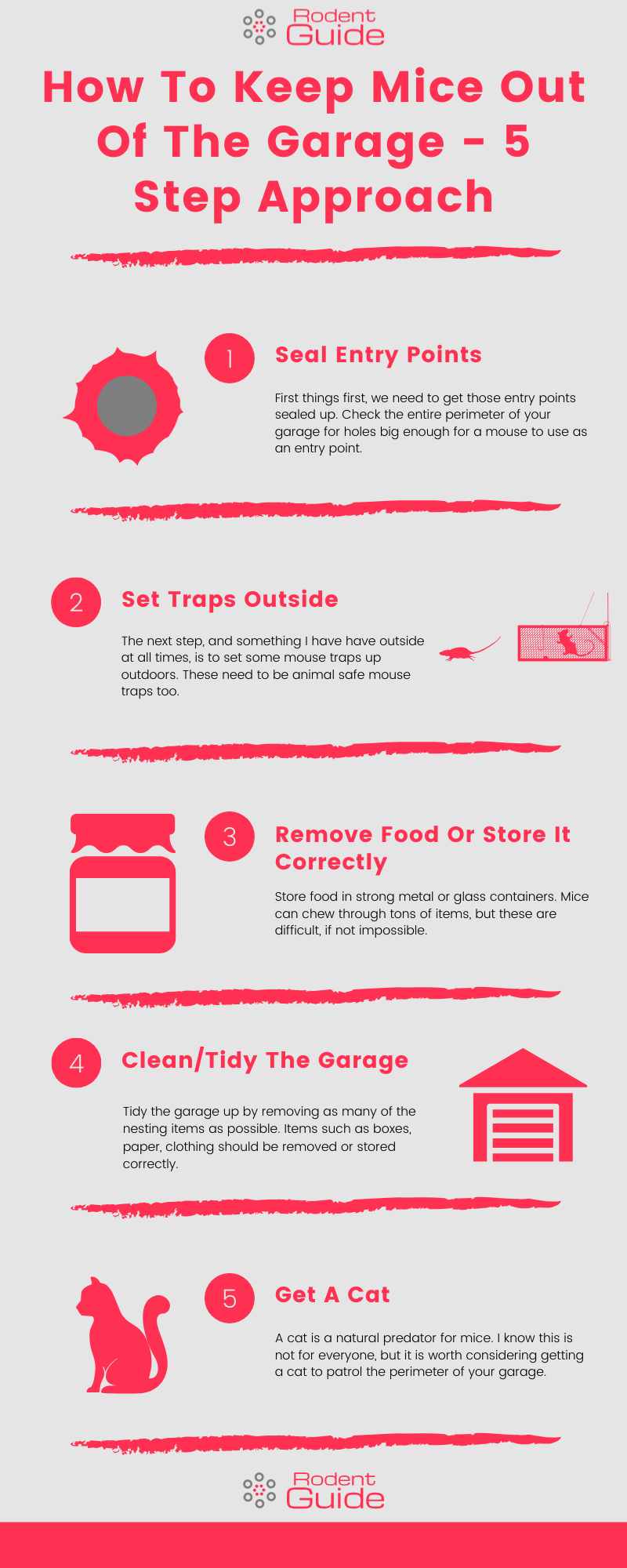 How To Keep Mice Out Of The Garage - 5 Step Approach Infographic
